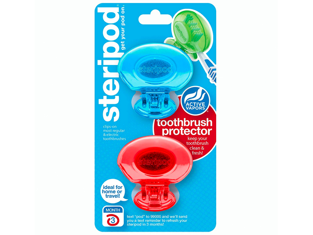 Steripod Clip-on Toothbrush Protector (Blue & Red)