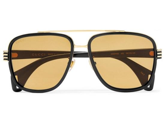 GUCCI Aviator-Style Gold-Tone And Acetate Sunglasses