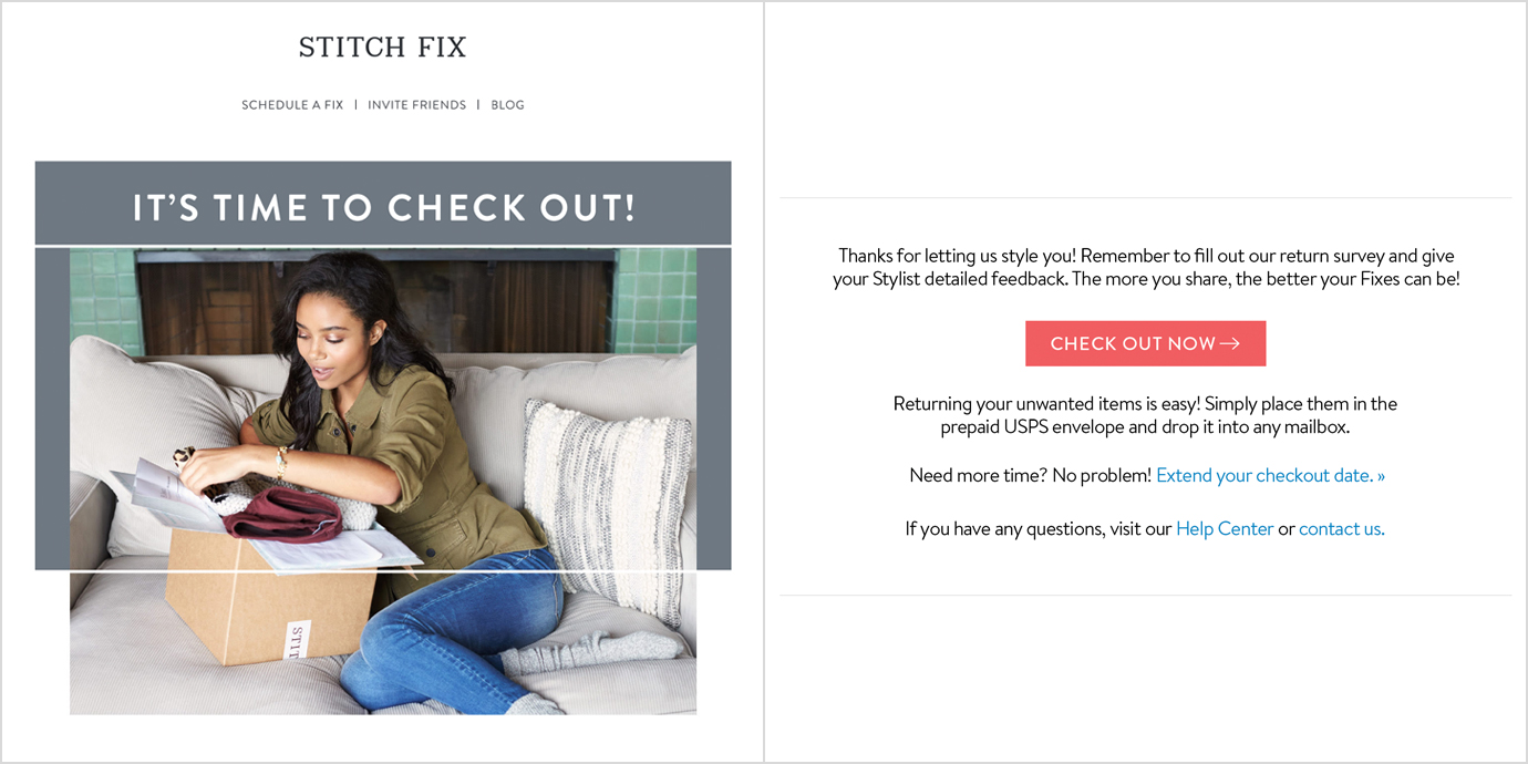 Stitch Fix Email - Time to Check-Out.