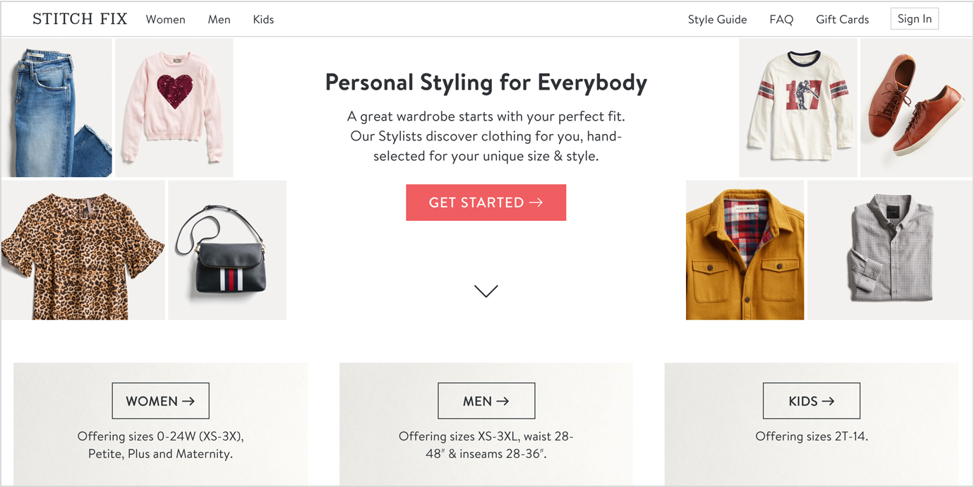 Stitch Fix Sign-up for Women, Men or Kids.