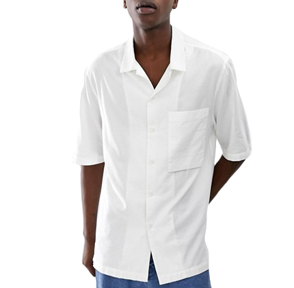 ASOS WHITE loose fit shirt in white textured fabric.