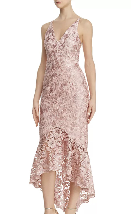 AVERY G Shimmery Floral-Embroidered Lace Dress.