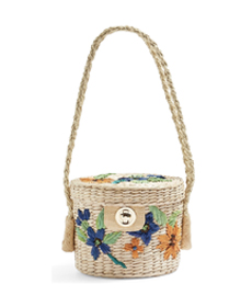 Fable Floral Straw Bucket Bag TOPSHOP.