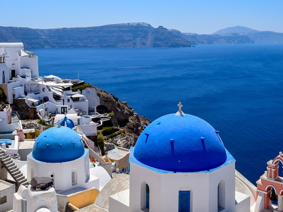 View of Santorini and the mediterranean.