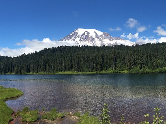 View of a lake and Mt. Rainier in Seattle.