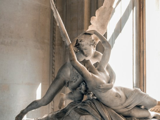 A scuplture in the Louvre Museum in Paris.