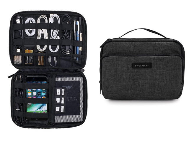 BAGSMART 3-Layer Travel Electronics Cable Organizer.