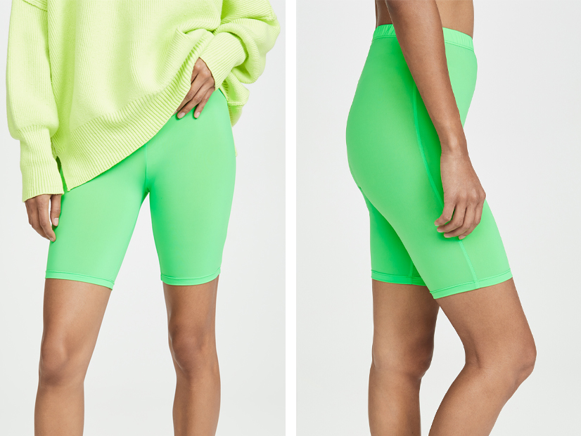 ENGLISH FACTORY Neon Green Bike Shorts.