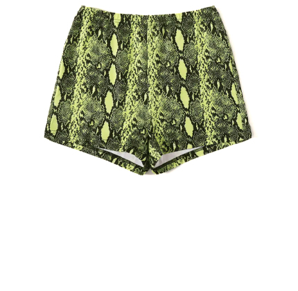 SHEIN Neon Lime Snakeskin Print Cycling Shorts.