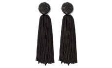 SUGARFIX by BaubleBar Beaded Studs Tassel Drop Earrings - Black.