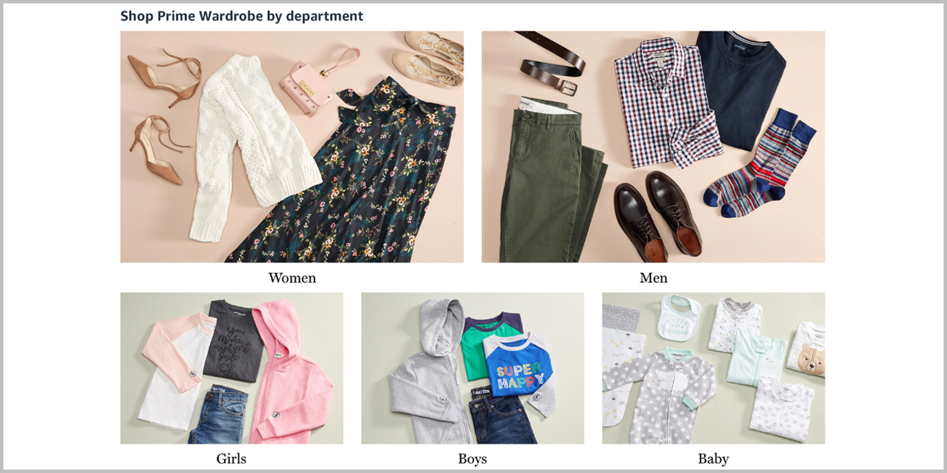 Screenshot of shopping Prime Wardrobe by department.