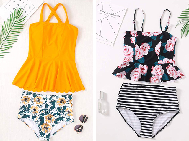 Womens Retro High Waisted Bathing Suit.