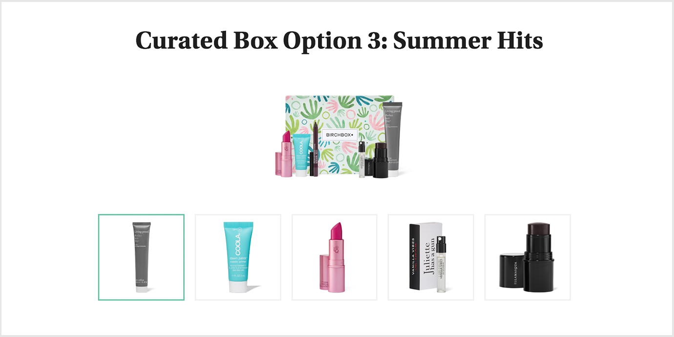 Curated Box Selection from Birchbox.