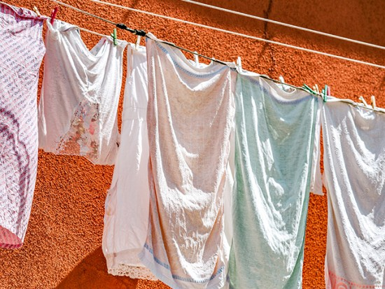 Laundry handing on a line.