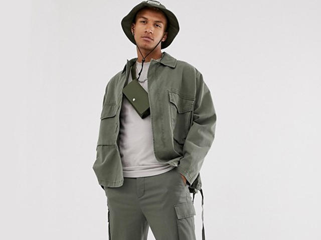 ASOS DESIGN utility jacket in khaki.