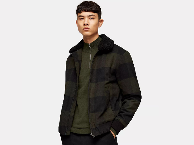 SELECTED HOMME Black Watch Check Bomber Jacket.