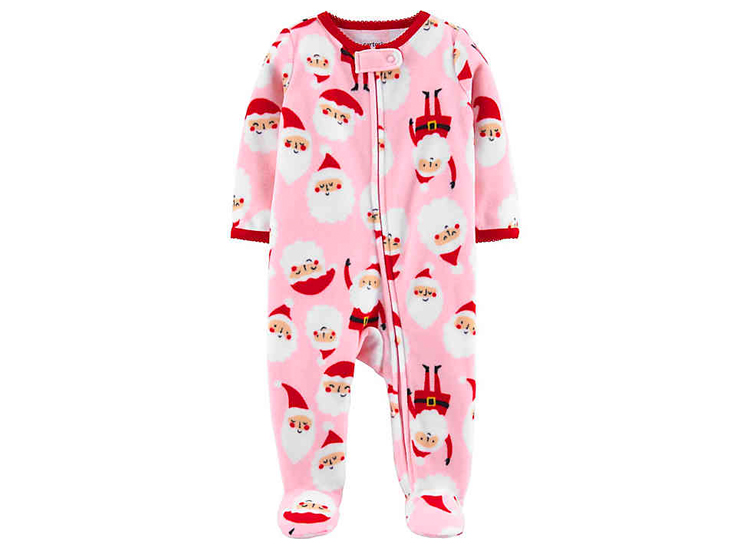 carter's® Santa Fleece Footie in Pink.