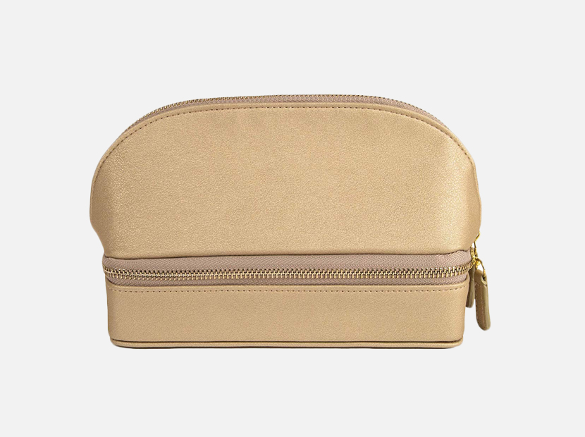 Brouk and Co. Duo Travel Organizer for Cosmetics and Jewelry, Gold.