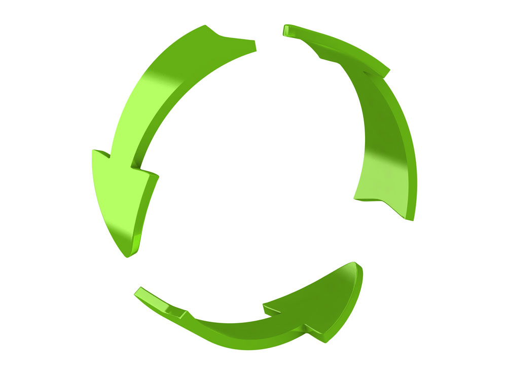 3d render of recycle arrows