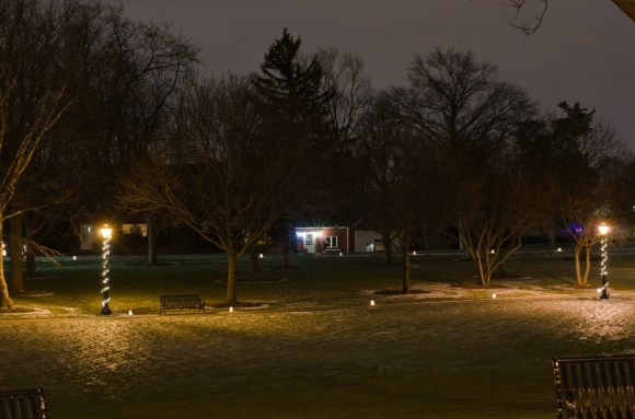 Itasca Usher Park lamp posts night photography