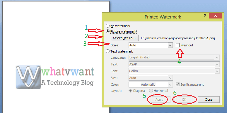 How to add watermark to word