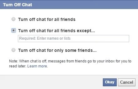 how to turn off facebook chat