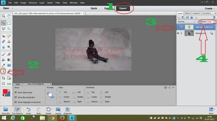 photoshop elements watermark