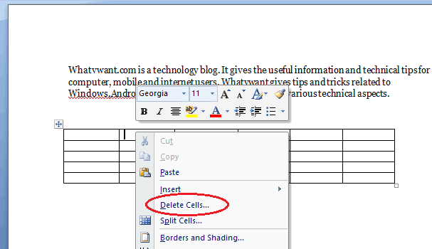 How to delete columns in word