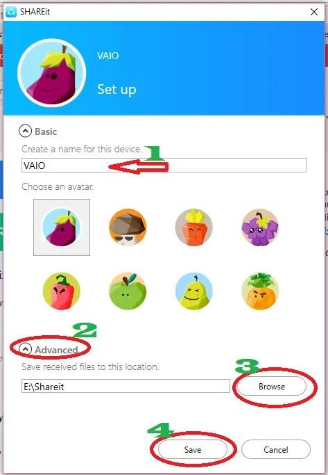 shareit advanced settings