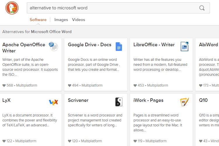 the best search engine duckduckgo search alternatives