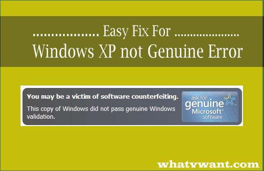 windows xp not genuine fix