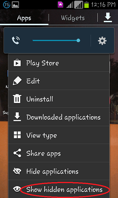 hide application android
