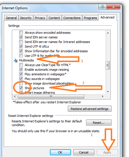 Disable images in internet explorer