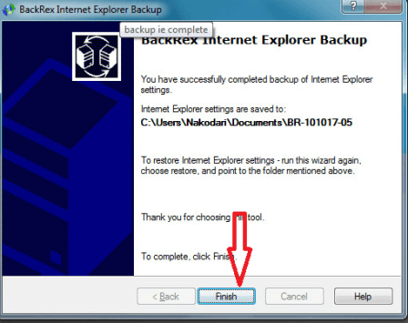 Backup internet explorer