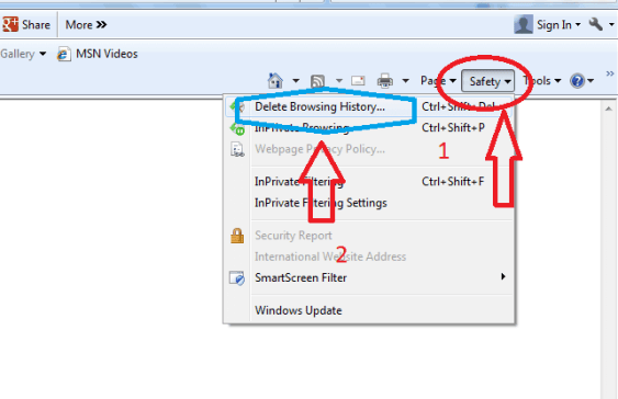 remove history from internet explorer