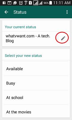whatsapp profile status
