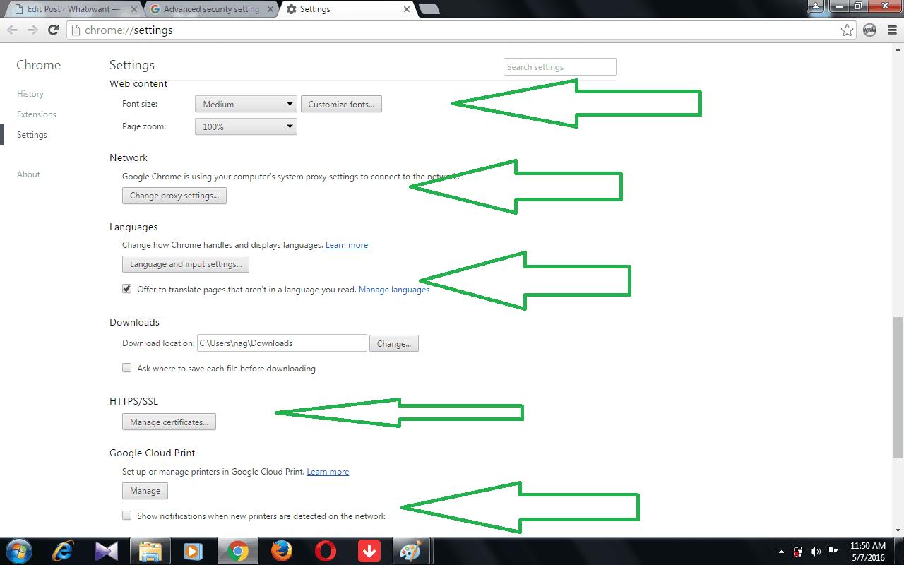 google advanced settings