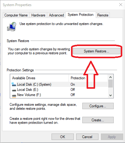 system restore to earlier date