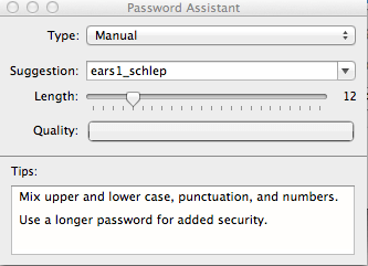 Password Assistant screen