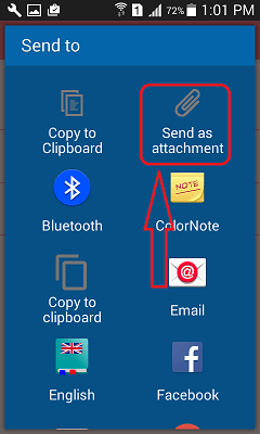 Send colornote notepad notes to pc