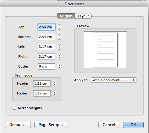 Change margins in word for Mac
