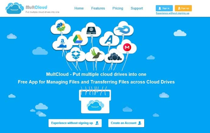 multcloud home page