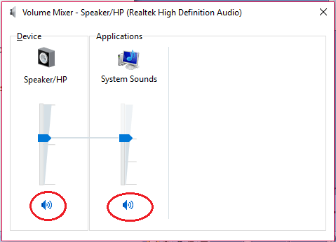 volume mixer no mute