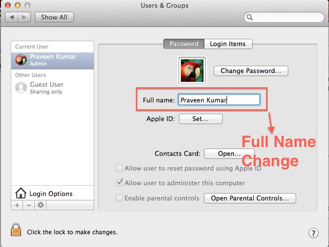 Change Mac User Name