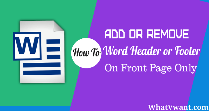 Word header on first page only