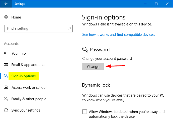 Windows 10 sign in options