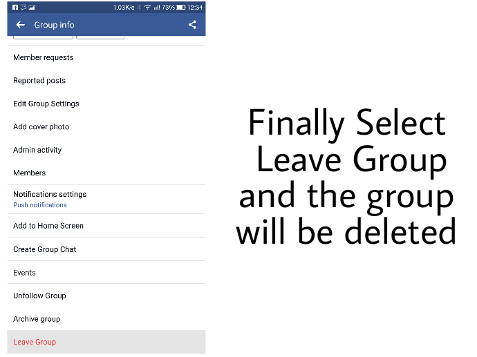 2 Ways to Delete Facebook Group From Android & Windows/Mac 3