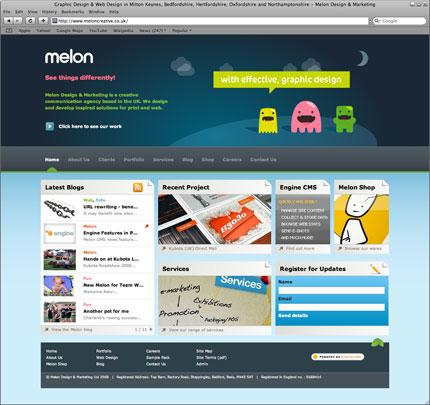 screenshot of Melon's new site