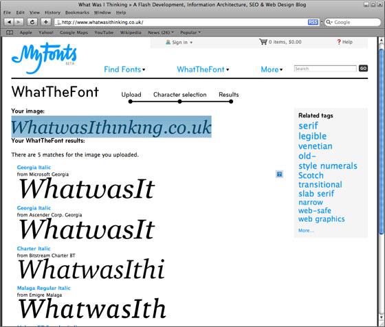 WhatTheFont! - Whatwasithinking.co.uk