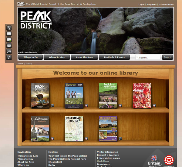 Screenshot of the online library page